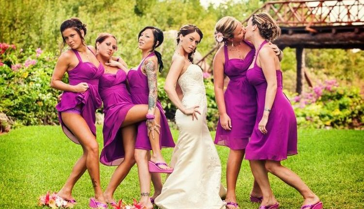 Bridesmaids show off butts
